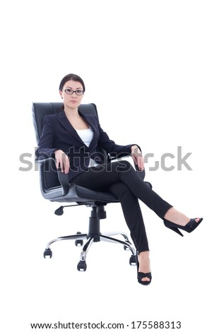young businesswoman sitting on the chair isolated on white background