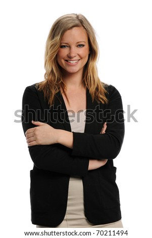 Young Businesswoman smiling and with her arms crossed isolated on a white background - stock photo