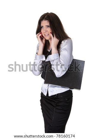 Young businesswoman speak two phones