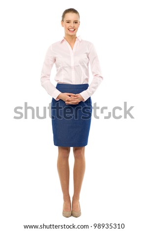 Young businesswoman standing - stock photo