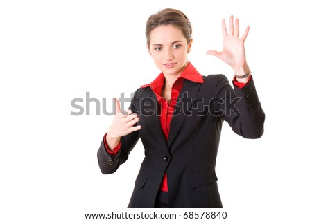 young businesswoman trying to explain or show something, gesturing, studio shoot isolated on white - stock photo