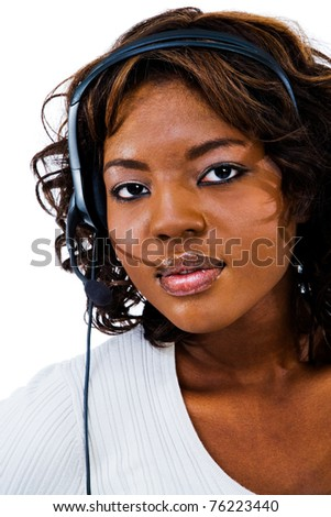 Young businesswoman wearing headset isolated over white