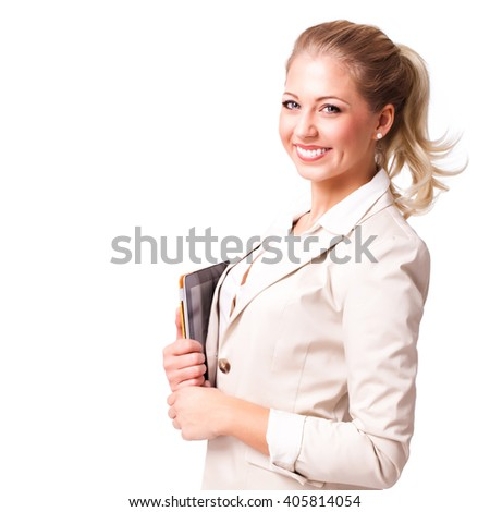 young businesswoman with a tablet computer isolated on white - stock photo