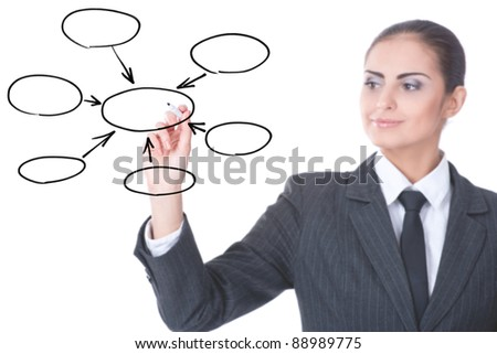 young businesswoman with an empty diagram on white background