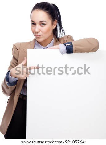Young businesswoman with blank board. Isolated over white.
