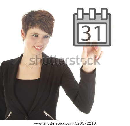 Young businesswoman with calender isolated on white background - stock photo