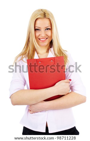 Young businesswoman with clipboard isolated on white background