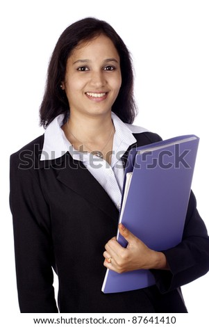 Young businesswoman with document folder - stock photo