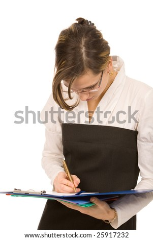 young businesswoman with folders on white background