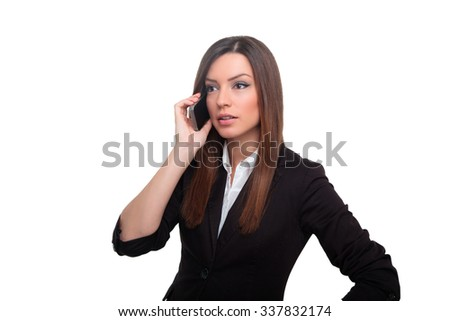Young businesswoman with her phone - stock photo