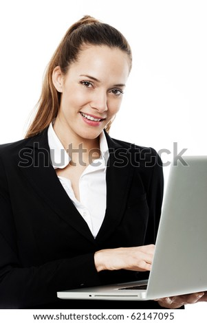 young businesswoman with laptop on white background studio