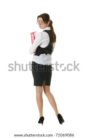 young businesswoman with office folder isolated on white - stock photo