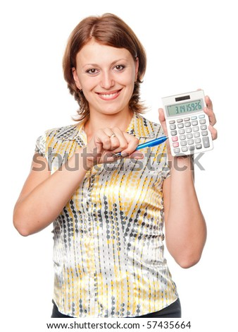 Young businesswoman with pen and calculator - stock photo