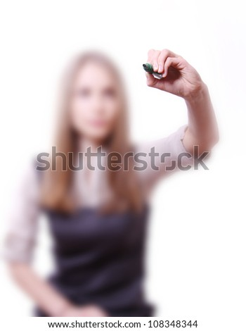 young businesswoman with pen on white - stock photo