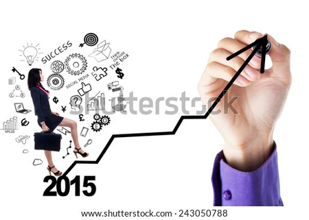 Young businesswoman with scribbles and briefcase stepping upward on a chart, isolated on white - stock photo