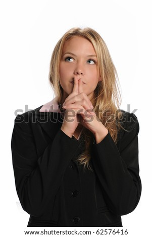 Young Businesswoman with thinking attitude isolated on a white background