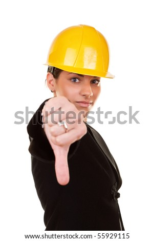 young businesswoman with thumb down isolated on white