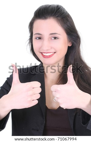 Young businesswoman with thumbs up sign over white - stock photo