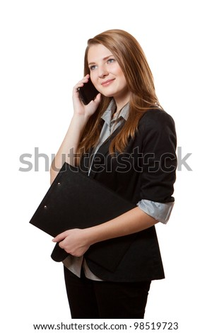 Young businesswoman woman calling on the phone