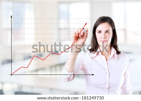 Young businesswoman writing on glass board or working with virtual screen 2. Office background.