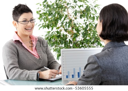 Young businesswomen having a business meeting, discussing business chatrs on laptop computer. - stock photo