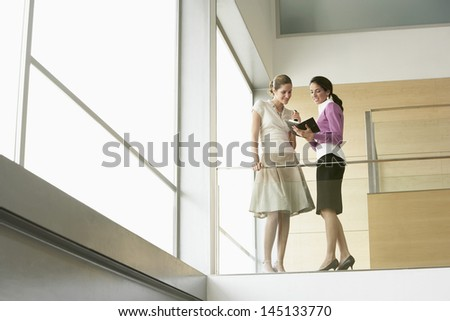 Young businesswomen with organizer planning agenda together while standing by glass railing in office - stock photo