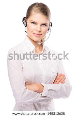 Young call center operator or phone support assistant in headset, isolated over white. Attractive blond Caucasian female model in headphones.  - stock photo