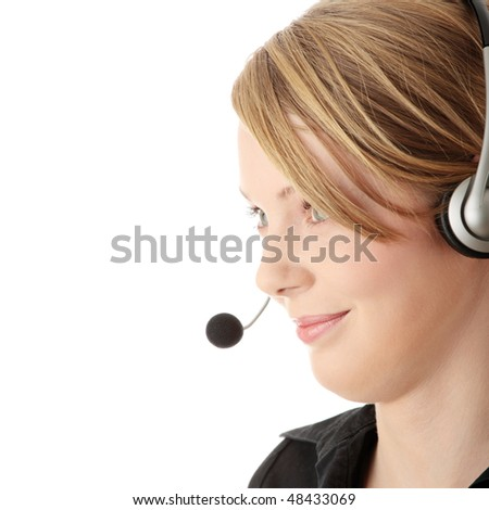 Young call center worker, isolated on white background - stock photo