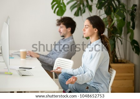 meditation office. Young Calm Woman Taking Break In Office For Meditation, Mindful Peaceful Millennial Girl Employee Or Meditation