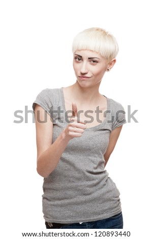 young casual caucasian blond woman in gray t-shirt showing thumbs-up isolated on white