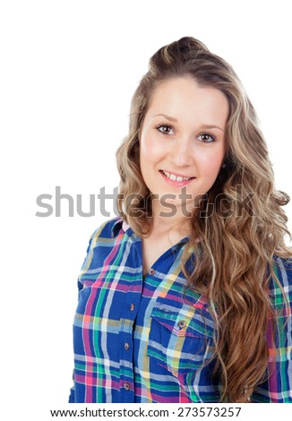 Young casual girl isolated on a white background