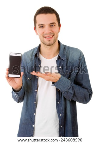 young casual happy man with a phone, isolated - stock photo