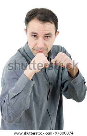 young casual man boxing, isolated on white - stock photo