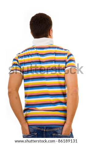 Young casual man from back with the hands in pockets , isolated on white - stock photo