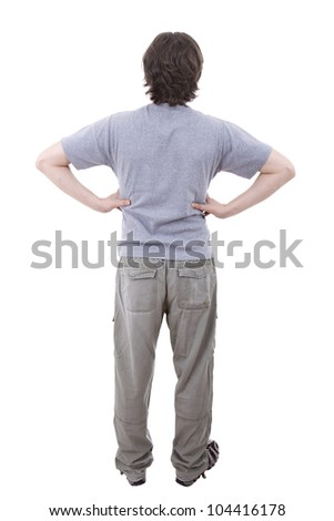 young casual man from the back, full body, isolated