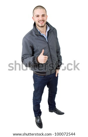 young casual man full body going thumb up