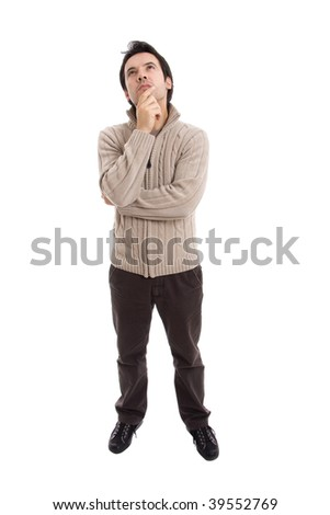 young casual man full body thinking in a white background