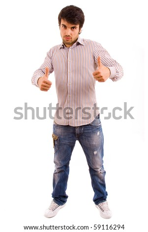 Young casual man full body tumbs up on white background