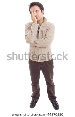 young casual man full body with a headache, isolated on white - stock photo