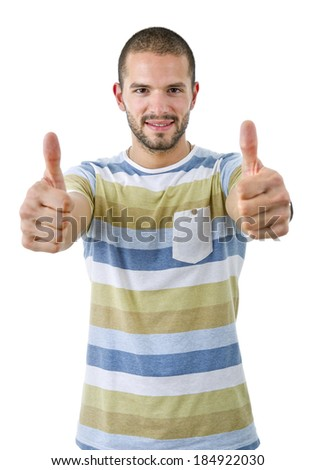 young casual man going thumbs up, isolated on white