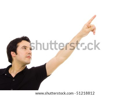 young casual man in a suit pointing with is finger, isolated on white - stock photo