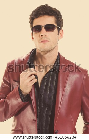young casual man in sunglasses  - stock photo