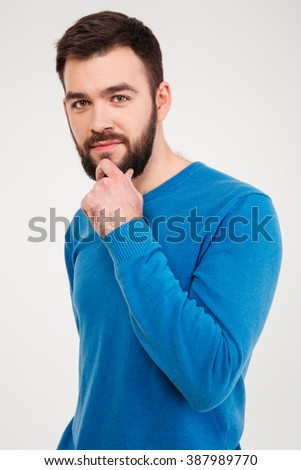 stock photo portrait serious casual folded arms isolated white background image