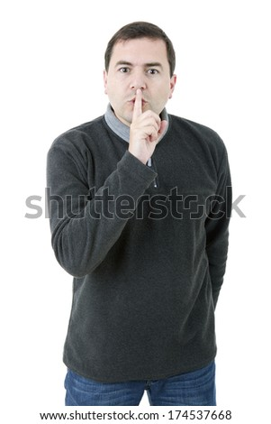 young casual man making silence with his finger, isolated