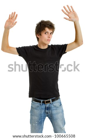 young casual man making stop with his hands - stock photo