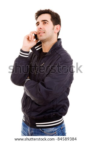 Young casual man on the phone, isolated on white - stock photo