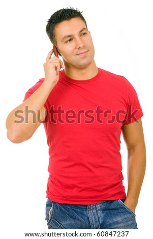 young casual man on the phone, isolated on white background - stock photo