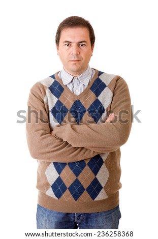 young casual man portrait in a white background - stock photo