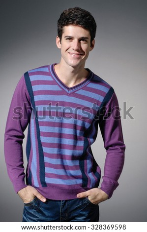 young casual man portrait, isolated over light background - stock photo