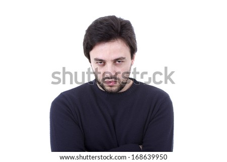 Young casual man portrait on a white background  - stock photo